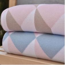Knitted Blanket 3091 3D Cubes Ciel - Beige 70X90
