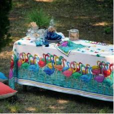 Tablecloth Flamingo White