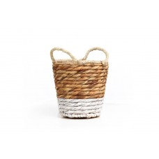 Basket Jununca top edge natural with white Small (20×20-26) Soulworks 0510056