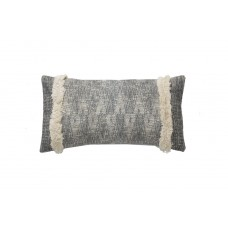 Decorative pillow Lotus Handwoven Black and Ivory (35 × 50) Soulworks 0610003