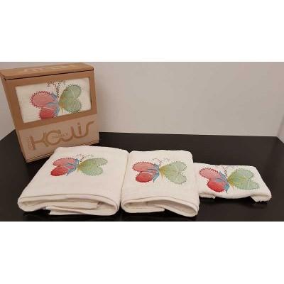 Set of towels 3pcs. Ecru Embroidery 99-001-003