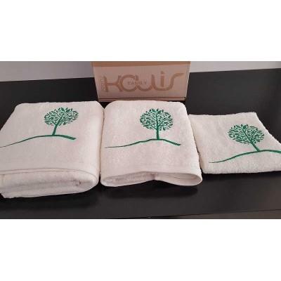 Set of towels 3pcs. Ecru Embroidery 99-001-004
