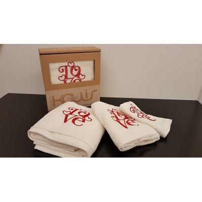 Set of towels 3pcs. Ecru Embroidery 99-001-005