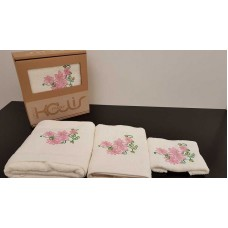 Set of towels 3pcs. Ecru Embroidery 99-001-007