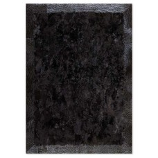 Γούνινο Χειροποίητο Χαλί Toscana Μαύρο με δερμάτινη μπορντούρα