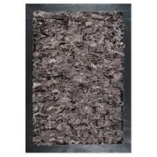 Γούνινο Χειροποίητο Χαλί Toscana Taupe-Μαύρο με δερμάτινη μπορντούρα