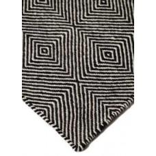 Μάλλινο Χειροποίητο Κιλίμι Herringbone Τετράγωνο Μαύρο-Άσπρο
